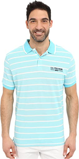 Embellished Pencil Stripe Polo Shirt