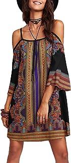 Women's Vintage Print Kimono Sleeve Geometric Tunic Boho...