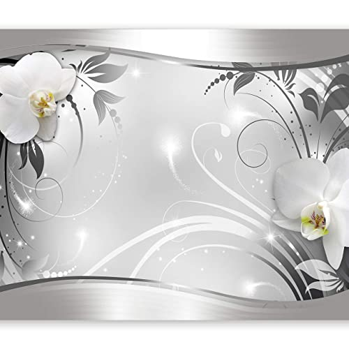 murando – Papier peint intissé 350x256 – Trompe l oeil – Tableaux muraux déco XXL – fleurs orchidée ornement abstraction b-A-0078-a-b