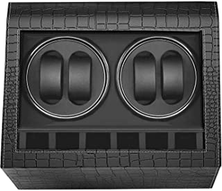 MerLerner Automatic Watch Winder Collector with 4 Watch Winder + 6 Display Storage Spaces for All (Crocodile PU Leather De...