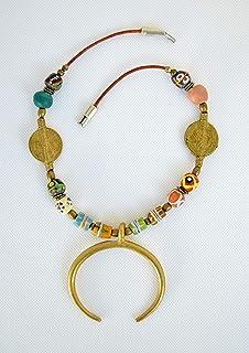 Collana donna luna tribale, ciondolo mezza luna, Originale regalo donna
