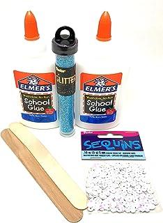 Slime Essentials - 白色 Elmer's 胶水(2 只装) - 霓虹蓝色闪光亮片和塑造苗条