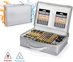 Vemingo Battery Organizer Storage Carrying case Waterproof Fireproof Bag Holds Hard 148 Batteries - C D 9V AA AAA Lithium 3V(Batteries and Battery Tester are Not Included)
