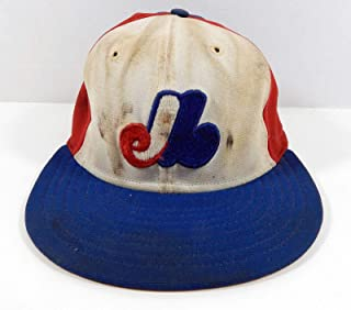 Montreal Expos Jerry White # Game Used Blue White Hat - MLB Game Used