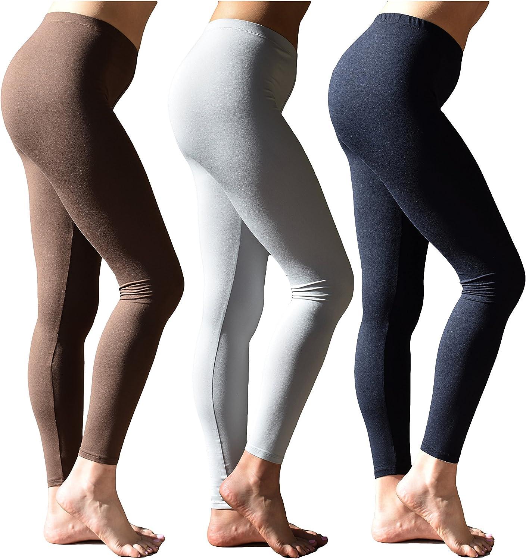 Sexy Basics Women's Buttery Soft Brushed Skinny Pant Long Leggings- Multi Packs