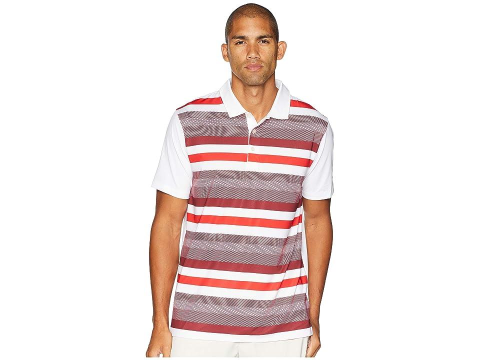 PUMA Golf Turf Stripe Polo (Bright White/Pomegranate) Men