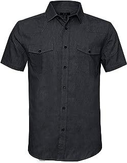 AVANZADA Men's Big & Tall Fort Short Sleeve Denim Shirt Lightweight Chambray ButtonDark Blue