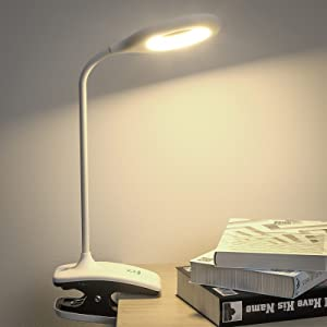 Deeplite Clip on Reading Light / Book Light USB Charing, Rechargeable LED Bed Light, Flexible Neck, Memory Touch 3 Color Modes & Stepless Brightness Portable Clip Desk Lamps for Reading Study.