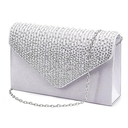 25d4c08e4d1 Jubileens Ladies Large Evening Satin Bridal Diamante Ladies Clutch Bag  Party Prom Envelope