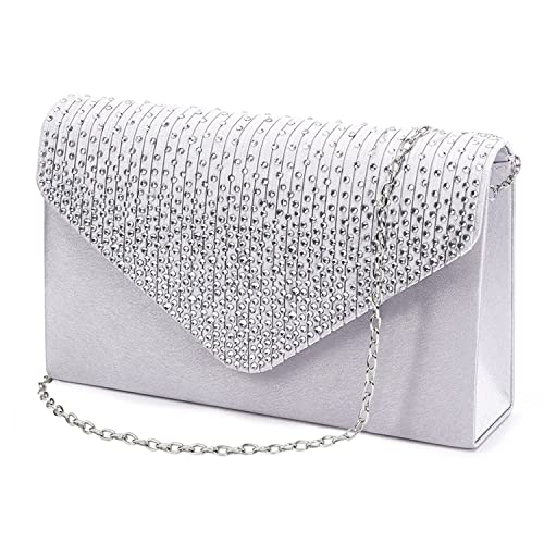 5438e1cb7bf91 Clorislove Satin Strass Damen Clutch Abendtasche Handtasche Umhaengetasche ( Silber)