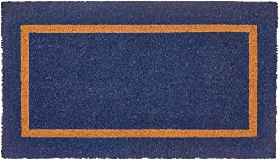 mDesign Rectangular Coir and Rubber Entryway Doormat with Natural Fibers for Indoor or Outdoor Use - Neutral Design - Stripe Border - Minimalistic - Navy Blue/Natural