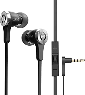 MuveAcoustics Drive Wired in-Ear Earbud Headphones - Noise Cancelling Premium Stereo Headphone Earbuds w/Mic, Ergonomic fit for Men & Women, Black