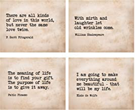 """Famous Quotes Wall Art- 4P Set- 8 x 10""""s Inspirational Art Wall Prints-Ready to Frame. E. Roosevelt, Shakespeare, Picasso,..."""
