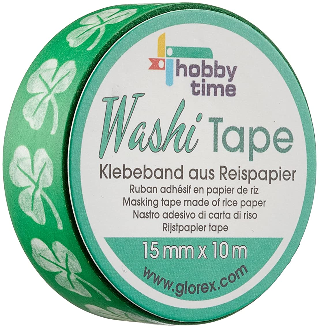 Glorex Washi Tape Clover Plastic, Assorted Colors, 5?x 5?x 1.5?cm