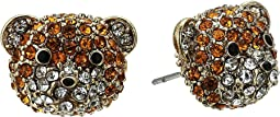Pave Teddy Bear Stud Earrings