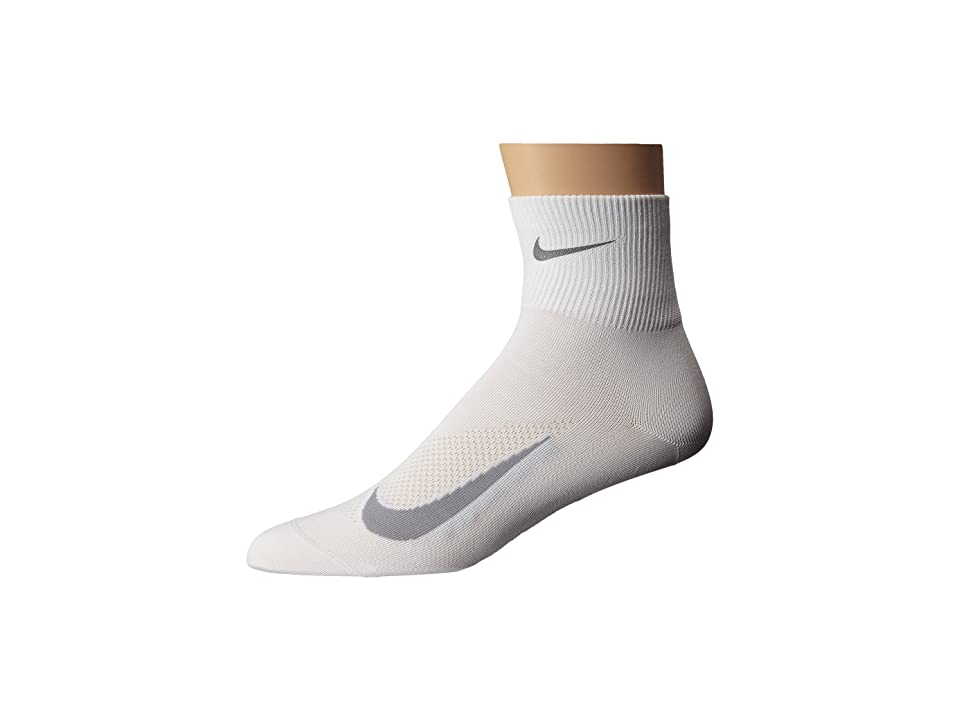 Nike Elite Run Lightweight 2.0 Quarter (White/Wolf Grey) Quarter Length Socks Shoes