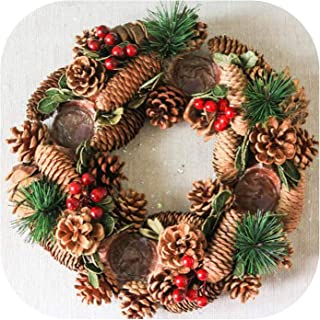 Christmas Candle Holders Pine Cone Berries Woodland Rustic Xmas Decor Table Centerpiece Christmas Wreath with Four Candleholder,Without Cups