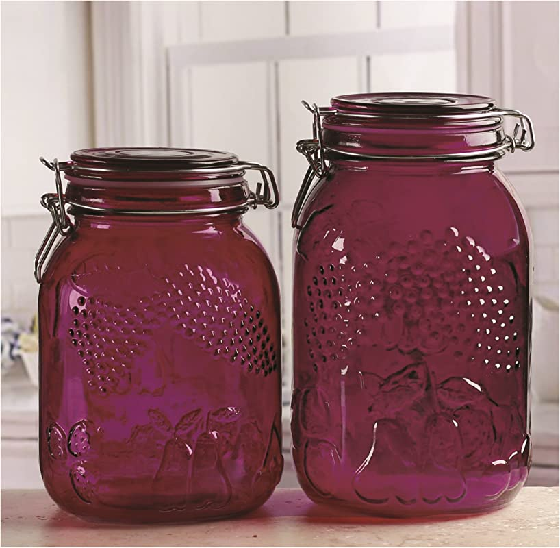 Circleware Violet Orchard 2 Piece Embossed Glass Preserving Jars Food Canister Set With Hermetic Locking Lid 53 Oz 64 Oz 7 5 8 5