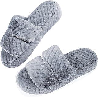 House Slippers for Women Open Toe, Fluffy Womens Slippers Memory Foam Indoor, Comfy Slip On Women's Bedroom Slippers Non-Slip Pink Gray Black White