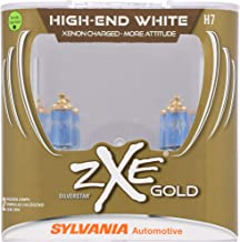 SYLVANIA - H7 (64210) SilverStar zXe GOLD High Performance Halogen Headlight Bulb - Headlight & Fog Light, Bright White Light Output, Best HID Alternative, Xenon Charged Technology (Contains 2 Bulbs)