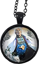 Native American Women and Wolf Glass Dome Pendant Necklaces/Art Portrait Pendant Photo Under Glass Necklaces with Black Chain