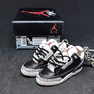 Pair Air jordan III 3 Retro Black Cement 88 OG Sneakers Shoes 3D Keychain 1:6 Figure + Shoe Box