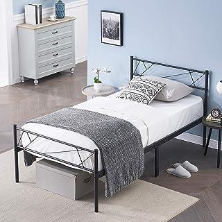 SYMY - Marco de cama doble con cabecero de cama de metal, estructura de cama doble, estructura de metal, base de colchón c...