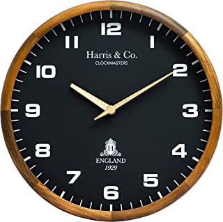 Harris & Co. Clockmasters Luxury Wooden Wall Clock with Leather Dial and Wooden Hands,14 Inch, Silent Sweep Noiseless Tech...