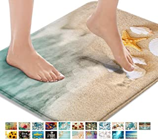 Best Britimes Bath Mats for Bathroom, Bathroom Mats Rugs No Silp, Beach Starfish Sea Shell Washable Cover Floor Rug Carpets Floor Mat Bathroom Decorations 18x30 Inches for Kitchen Bedroom Indoor Review