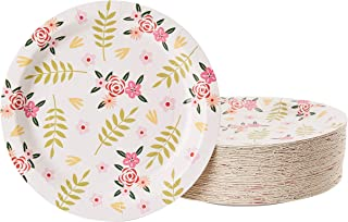 Floral Paper Plates - 80-Pack Disposable 9-Inch Floral Plates, Tea Party, Weddings, Bridal Shower Party Supplies, Vintage Flowers Print, Round Plates for Appetizer, Lunch, Dessert
