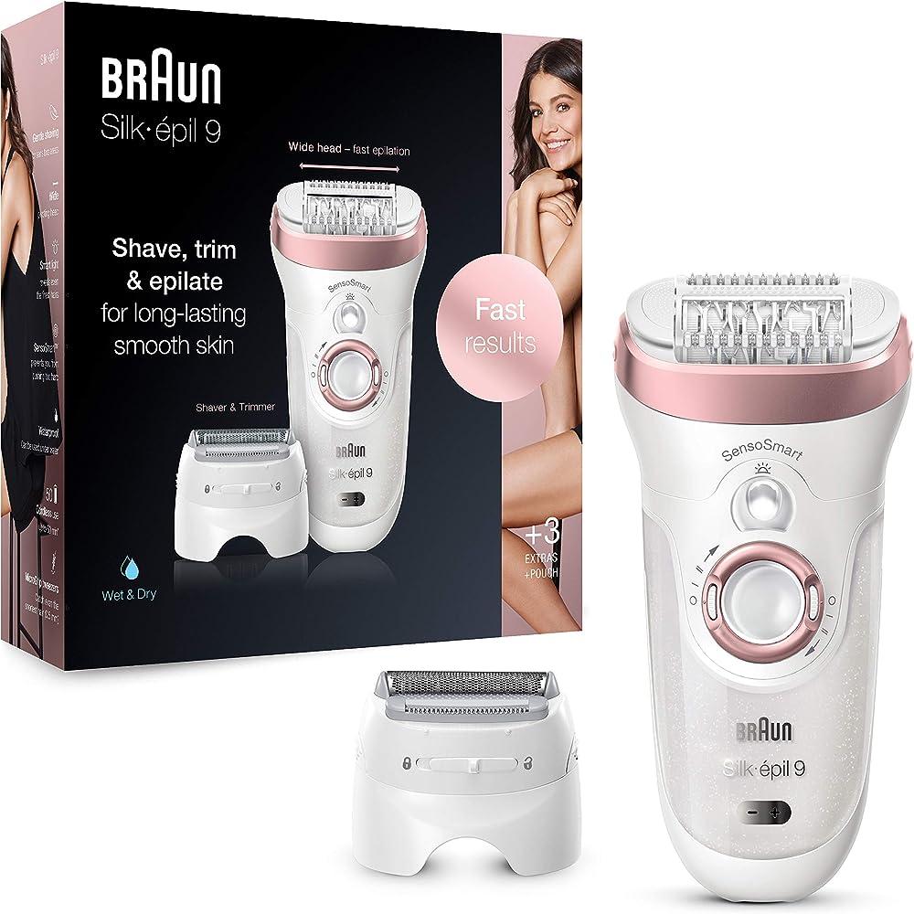 Braun silk-épil 9 9-720, epilatore donna con pinzette con tecnologia microgrip, testina radente e rifinitore 4210201285267