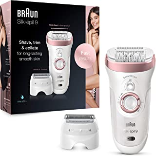 Braun Silk-épil 9 9-720 Depiladora eléctrica para mujer para una depilación duradera, cabezal de afeitado y recorte, con t...