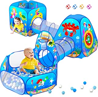 5 Piece Kids Play Tent and Play Tunnel for Toddler, Premium Ocean Kids Playhouse with 1 Baby Ball Pit, 2 Kids Play Tunnel...