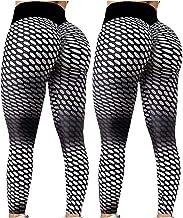 $20 » Dosoop 2Pcs Women's Yoga Pants Bubble Hip Butt Lifting Legging High Waist Workout Tummy Control Yoga Running Tights