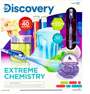 Discovery Extreme Chemistry Stem Science Kit by Horizon Group USA, 40 Fun Experiments, Make Your Own Crystals, DIY Glowing...