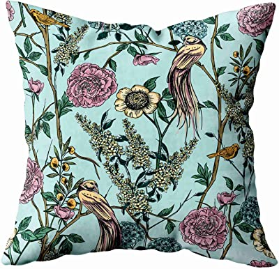 Capsceoll Throw Pillow Covers 16x16 Inch Victorian Garden Floral Pattern Lumbar Pillow Cover Home Decoration Pillow Cases Zippered Covers Cushion For Sofa Couch Red Green Home Kitchen