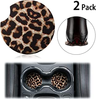 Boao 2.56 Inch Leopard Car Coasters for Drinks Neoprene Cup Coaster Rubber Car Cup Pad Mat Car Accessories for Car Living Room Kitchen Office to Protect Car and Furniture (2)