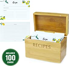 Mint + Elm Recipe Box Set with 100 4x6 recipe cards, 10 dividers, bamboo box, and card holder. Cards made with thick card stock. Perfect recipe organizer.