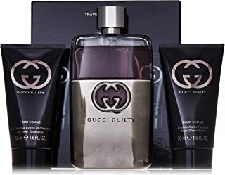 Gucci Guilty 3 Piece Gift Set for Men (Eau de Toilette Spray Plus After Shave Balm Plus All Over Shampoo)