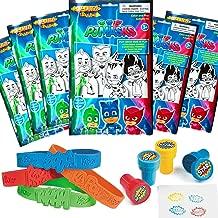 PJ Masks Party Favor Set - 6 Take & Play Coloring Play Packs, 12 Superhero Sayings Bracelets, 12 Super Hero Stampers (1)