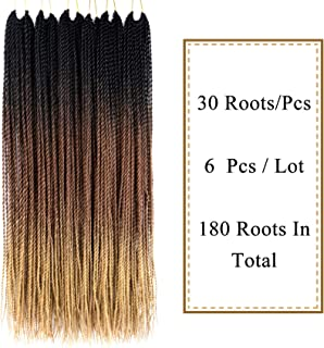 VCKOVCKO 6 Packs Ombre Synthetic Hair Senegalese Crochet Twist Braiding Hair 30 Roots/Pack,6Pcs/Lot,100g/Pack 24