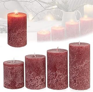 Candelo - Juego de 4 velas rústicas para Navidad (8/10/12/14 cm), color burdeos