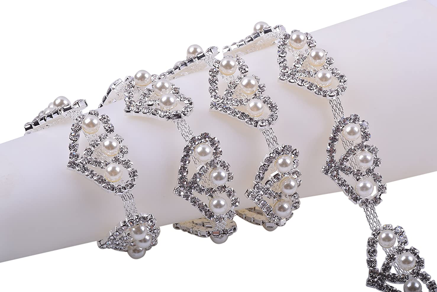 KAOYOO 1 Yard Heart-Shaped Crystal Rhinestone Chain Include Three Ivory Pearl for Sewing Trims Wedding Decoration or as a Present for Your Friends