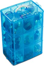 LifeSmart USA Stackable Storage Container Blue 50 Adjustable Compartments Compatible with Lego Dimensions Shopkins Littlest Pet Shop Arts and Crafts and More Deep 3 Tier