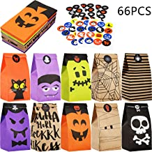 60 Pieces Halloween Paper Gift Bags Trick or Treat Bags Party Favor Candy Bags with 66 Pieces Halloween Stickers