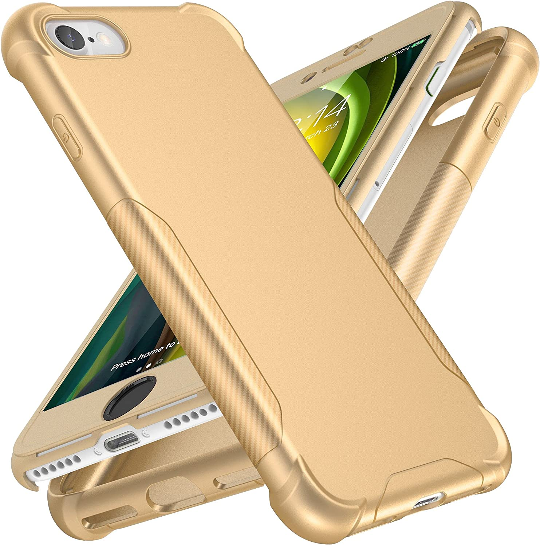 Designed for iPhone 7/8/SE 2020 Case, ORETech Designed for iPhone 7/8/iPhone SE Case with[2 x Tempered Glass Screen Protector]Full Body Hard PC Soft Rubber Slim Case for iPhone SE/7/8 Case 4.7''-Gold