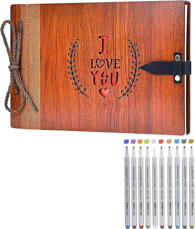 Free Cheap shipping on posting reviews ZEEYUAN Wooden DIY Photo Album Memory Scrapbook Book 10 C