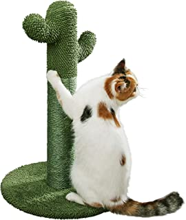 PetnPurr Cat Scratching Post with Teaser Ball Toy, Green Cactus