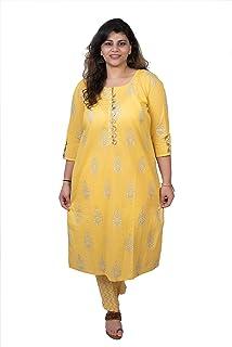 2c570665a750 Damyantii Plus Size 2XL 3XL 4XL 5XL Kurtas for Women in Mustard Color with  Gota Flower