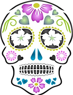 """Day of the Dead Sugar Skull Stencil - (size 8""""w x 10.5""""h) Reusable Halloween Wall Stencils for Painting - Halloween Decor Ideas - Use on Walls, Floors, Fabrics, Glass, Wood, and More…"""